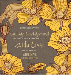 vvintage background with drawing flowers vector image