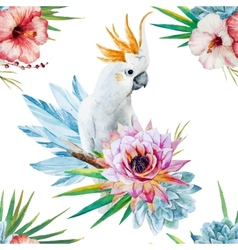 Watercolor pattern with parrot and flowers vector image