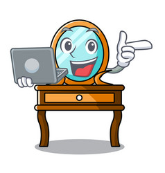With laptop dressing table character cartoon vector