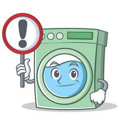 With sign washing machine character cartoon vector