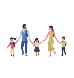 young parents taking their children to school vector image