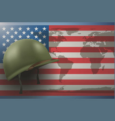 american flag and military helmet vector image vector image
