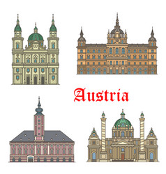 austrian travel landmarks of architecture icon set vector image