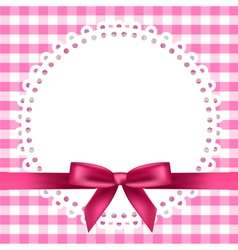 chequered napkin ribbon background vector image vector image