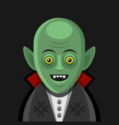cute cartoon green vampire on derk background vector image vector image