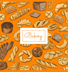 hand drawn colored bakery elements vector image vector image