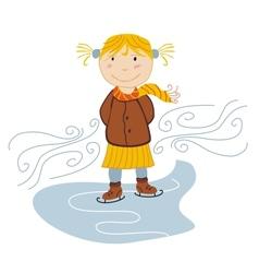little girl ice skating vector image