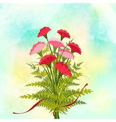 Springtime red carnation flower background vector