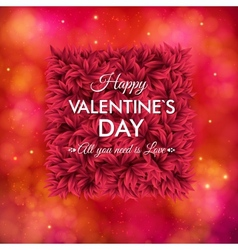 Tender floral red Valentines Day card design vector image