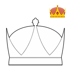 Coloring book Crown Royal Crown Hat for King vector image