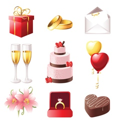 love and marriage icons set vector image