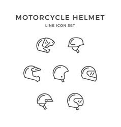 set line icons of motorcycle helmet vector image