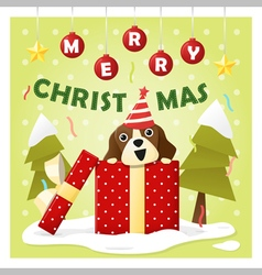 Merry Christmas Greeting Card with dog inside gift vector image