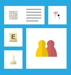 flat icon play set of mahjong labyrinth ace and vector image