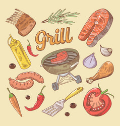 hand drawn grill barbecue doodle with steak vector image vector image