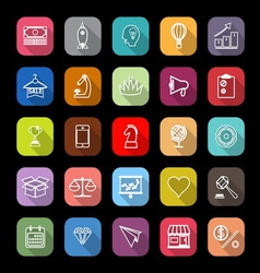 Marketing strategy line icons with long shadow vector image vector image