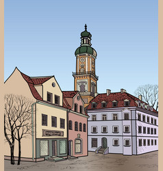 Street view old city square cityscape tower vector