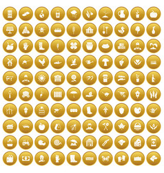 100 farm icons set gold vector image