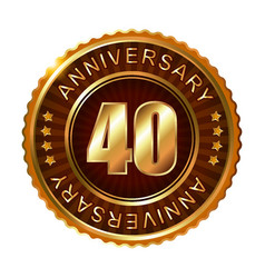 40 years anniversary golden brown label vector