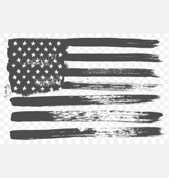 American national flag in black and white grunge vector image