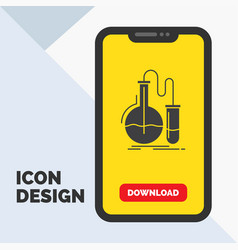 analysis chemistry flask research test glyph icon vector image