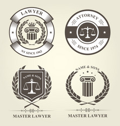attorney and lawyer bureau emblems and badges vector image