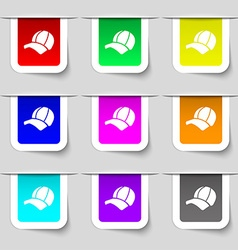 Ball cap icon sign Set of multicolored modern vector image