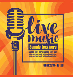 banner for concert of live music with microphone vector image
