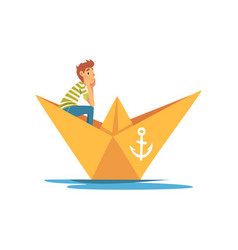 boy in green white striped t-shirt boating in vector image
