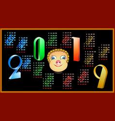 calendar for 2019 on a black background vector image