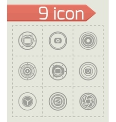 Camera shutter icon set vector image