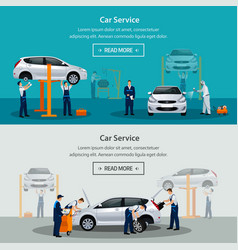 car repair service flat horizontal banner vector image