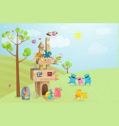 cardboard castle game with nature landscape vector image