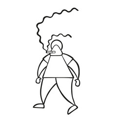 Cartoon man walking and smoking cigarette vector