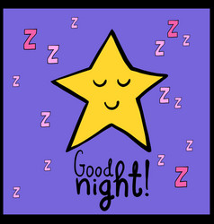 Cartoon yellow smiling star good night vector