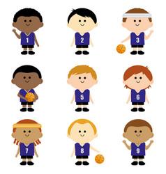 Children basketball players team vector