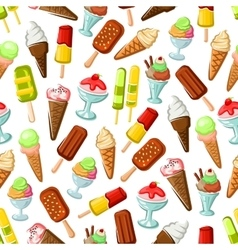 Chocolate and fruit ice cream seamless pattern vector