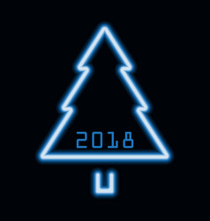 christmas tree blue neon sign 2018 vector image