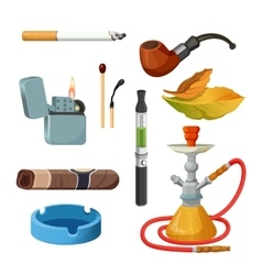 Cigarettes cigars hookahs tobacco leaves vector image