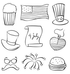 Collection of element memorial day doodles vector