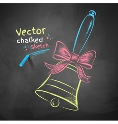 Color chalk drawn school bell vector image
