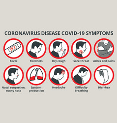 Coronavirus disease covid-19 symptoms infographic vector