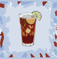 Cuba libre cocktail alcoholic bar drink hand vector