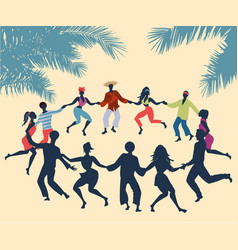 Cuban rueda or group of people dancing salsa in a vector