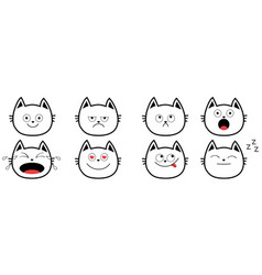 cute black contour cat set line funny cartoon vector image