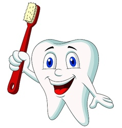 Cute tooth cartoon holding tooth brush vector