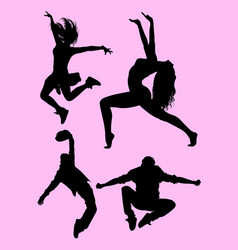 dancer pose male and female silhouette vector image