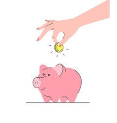 donation concept with cute pink piggy bank vector image