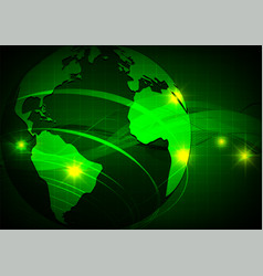 earth green wave abstract background technology vector image