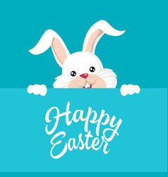 Easter bunny with happy easter text vector
